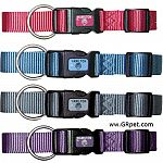 Adjustable collar in stylish new colors for your dog. Four colors available in multiple sizes.  Walk your dog or puppy through the neighborhood in style in a collar in a Hamilton Nylon colorful adjustable dog collar.