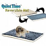 The Quiet Time Reversible Paw Print/Fleece Pet Beds are reversible with a very soft synthetic fur on one side and an ultra-plush sheep skin material on the other side. Easy to care for, just machine wash and dry. Perfect for a dog of any age!