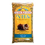 Vitamin enriched alfalfa pellets with the proper level of vitamin c, garden vegetables, dehydrated carrots and corn crunchies
