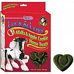 Your horse will enjoy these heart shaped Luck and Love Alfalfa and Apple Treats for horses. The aroma of these tasty alfalfa and apple cookies will keep your horse wanting more. These cookies have real alfalfa and are oven baked that makes them crunchy.