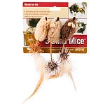 The chase in on with this trio of furry, feathered mice designed to meet your cats instinctual need to hunt. Petite and pounce-worthy, each mouse in the trio measures approximately 1