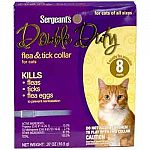 Double Duty Flea and Tick Collar for Cats by Sergeant's quickly works to kill ticks, fleas and flea eggs on your cat. Collar is effective for up to eight months. Kills ticks that carry Lyme disease. Easy to use, just attach collar to your cat.