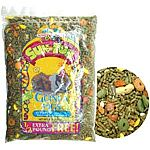 Vitamin enriches, alfalfa pellet based mix loaded with bananas, raisins, celery, peanuts and peas. Fortified with vitamin c to make a nutritious fun treat. Includes colorful sun, moon and star shaped cookies.
