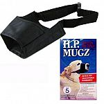 Quick fit and adjustable dog muzzle that is made of durable, washable, soft nylon. The H.P. Mugz allows dogs to drink and pant, but restricts biting, barking, and chewing. Black. Multiple sizes.