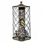 Lets birds in, keeps squirrels out. Wire squirrel barrier allows songbirds to feed undisturbed and prevents squirrels from reaching the center tube feeder.Metal roof, base, feeding ports, perches and barrier. Capacity: 3 lb. Seed