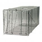 The smooth inside edges on this raccoon trap are for the protection of the animal, while the spring-loaded door has sensitive triggers to ensure a quick, secure catch. This model comes fully assembled and is 42x15x15.