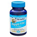 Puppy-Tab Liver Chewables Vitamin and Mineral Supplement made by Nutri-Vet for puppies are formulated to help your puppy grow and develop into a healthy adult dog. Sold in a bottle of 60 tablets.