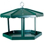 Homestead 3400R Hunter Green Fly Thru Gazebo Bird Feeder. A gathering place for birds. Feeder will hold up to 5 lbs of seed when mounded. Six or more birds can feed at one time