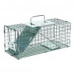 Ideal trap for Squirrels and similar sized animals. Constructed of sturdy wire mesh, rust and corrosion resistant. Fully assembled and ready to use. Size: 17x17x17