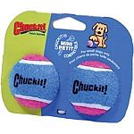 The Chuckit Mini Tennis Balls are available in a two pack and especiallly made for the Chuckit mini ball launcher. Ideal for a small sized dog. May be used with the ball launcher or on their own. High quality tennis balls. Available in pink and blue. Size