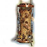 Tube-style wild bird feeder features decorative copper cage design with whimsical garden icons. Inner, plastic tube has twist lock top to help prevent seed theft from squirrels. Eight feeding ports allow multiple wild birds to feed at once.