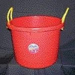 Bucket is perfect for stable and household use. Designed to fit tighter places like small closets. Ideal for toy storage, laundry, etc. Heavy duty polypropylene rope handle. FORTALLOY construction.  Easy to carry.