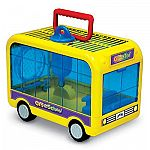 Travel smart with the this hamster, mouse, and gerbil home and carrier that looks like a school bus!  This multi-purpose bus includes real rolling wheels for playtime after a long day of class. When parked, the bus connects directly to any CritterTrail h