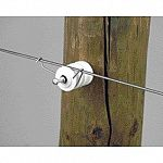 Handy spring clip for fastening electric fence wire to grooved insulators. Wire to insulator fastening clip. Galvanized spring wire. 100 to package.