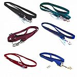 3/8 inch wide nylon dog lead with 2 inch swivel snap. Made from premium quality nylon. One end has a stitched hand loop and the opposite end has an extra-heavy snap for added strength. Multiple lengths and colors.