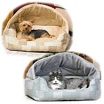 This snuggle bed offers pet privacy and a secure place to cuddle up. The hood can be removed and converted to a lounge sleeper. The pillow is removable and has a zipper for easy machine washing. Hooded Cat Bed.