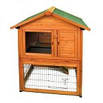 The Premium Plus Bunny Barn Rabbit Hutch makes a wonderful and fashionable multi-level outdoor home for your bunny! This stylish home features a roof that fully opens, a slide out door and a built-in nest box. Your bunny will enjoy the living space on eit