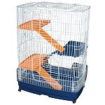 4-story cage offers plenty of room for ferrets, rabbits, and other small animals to run, climb, play and sleep. 3 ladders, 3 platforms, pull-out bottom drawer for easy cleaning. 2 large front-opening doors for easy access to pets. Rolling caster base. Mes