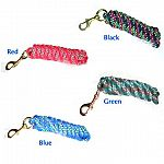 Excellent 10 foot long, 5/8 inch extra heavy polester rope lead with brass bolt snap for horses or other animals. Contemporary confetti design on the lead adds color to your barn. 4 color combinations