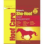 Sho-Hoof is a hoof supplement that helps maintain and improve overall hoof condition, thus promoting soundness. Provides 20 mg of biotin for overall hoof condition. Contains methionine and chelated zinc for hoof soundness. 5 lbs.