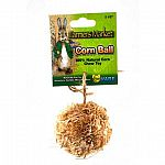 Wholesome and Natural Playtime Fun Corn Ball - large 4 in. is a natural corn chew toy for rabbits, guinea pigs, chinchillas, and pet rats that easily attaches to any cage to provide a safe and sanitary healthy chewing treat.