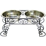 These beautiful mediterranean old world stainless steel double diners have hand crafted scroll work design with a beautiful black powder coat finish that will complement any home decor. Steel frame with 2 stainless steel dishes