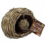 Provides your pet with a hideout, chew toy and play toy all in one. Made from natural sisal material and includes attached wooden chews and a hanging sisal ball for playing. Wood and sisal material are excellent chewing materials and promote good dental h