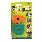 Apple and Carrot Salt and Trace Mineral Lick provides your small animal pet with a heathy and fun chewing activity that is great for keeping teeth trima and clean. Refill replacement includes 2 pieces of salt and trace mineral licks. Fruit flavored.