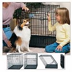 Folding, Metal and Portable dog crate. MIDWEST Life Stages crates become your dog's home for life! The Life Stages series cuts housetraining time in half by keeping your puppy from eliminating in one end and sleeping in the other.