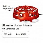 This bucket heater is designed to keep the warm enough in the bucket for drinking all winter long. Ideal for use in a variety of buckets and great for a variety of farm animials and dogs. Economical and doesn't use much electricity. 250 watt.