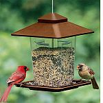 Contemporary, square style bird feeder featuring large roof overhang that holds approximately 5 lbs of seed (extra large seed capacity) Size: 9 square x 11 1/2 inches high. You can mount this birdfeeder with a hanging cord. The color for this item can va