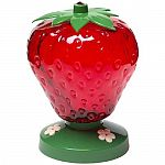 48 oz. capacity. The Perky Pet Strawberry Hummingbird Feeder features 3 ports and holds 48 ounces of nectar. The feeder reservoir is bright red to attract hummingbirds. The drip-resistant feeder base features three white flower feeding.