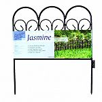 A classic border that will make any garden look beautiful. Classic rod iron design. Use as an accent fence or flower garden border. These individual pieces link together easily and are coated heavy duty. 17.5W x 18H inches. Black.