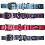 Hamilton Pet's durable webbed nylon dog collars with metal buckle and leash rings are tough and universally attractive. Walk your dog through the neighborhood in style in a collar in 4 new colors.