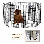Exercise Pens are good playing ground for your Pets whether indoors or outdoors. This exercise pen is made of Black E-Coat finish for long lasting protection. It has a secure double latch door access to make your pet secure .
