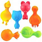 Fun durable, bouncy rubber toys with GREAT squeakers. - Pliable and resilient 100% natural rubber infused with vanilla extract. Color: varies / Bright colors Small: approx 4.5 inches / Med approx 5.5 inches / Large approx 6.5 inches