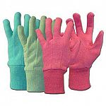 Great for kids who love to garden, these garden gloves are made of jersey and have comfortable fit. Available in pink, blue, and green. Ideal for keeping little hands clean and warm while gardening. May be used for a variety of uses.