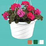 Add a touch of elegance to hanging plants with a contemporary Swirl Hanging Basket. Features an attached outside saucer for indoor or outdoor use.  Akro Mils produces quality durable products that will last.
