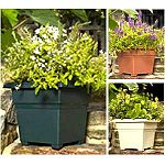 Countryside Planters bring beauty to the outdoor living space of every style home. Deep design square tub patio planter. Lightweight, durable, fade-resistant plastic, coded for recycling. Removable drainage plugs for better plant growth.  10 planters