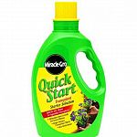 Miracle Gro Quick Start promotes vigorous root growth, reduces transplant shock, and also helps prevent problems from overwatering. 4-12-4 formula. Available in 48 fl. oz. bottle with bottle cap for measuring.