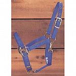 Weanling Adjustable Halter with Chin Strap.  Chin strap is adjustable and it has a throat snap.  3/4 inch thick (nylon)