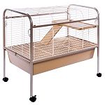 This cage includes ladder, platform, 6.5 inches deep plastic pan, removable bottom grille, 2 large doors, and tubular steel stand with easy-rolling casters.  Compact enough to even fit into an apartment, plus it comes with a ramp and platform.
