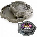 Reptile feeding. This combination feeding dish and water dish is stackable for easy storage and made from durable materials that hold up to the most extreme abuse. Colored to look like natural rock.