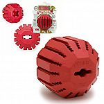 Kong Stuff-A-Ball, Kong's tough natural rubber in a ball designed to hold food or treats for added fun. Ball bounces and rolls unpredictably to keep your dog interested. 16 vertically grooved treat slots.