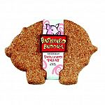 Box contains: 18 each barnyard buddies pig biscuits in bacon and cheese flavor.  Porky pig shaped delicious dog treats.