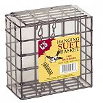 The Double Suet Basket is essential for successful wild bird feeding. Made of vinyl coated black wire, this double wide basket holds two cakes back to back and is easy on bird's feet. Comes with a chain hanger. Size: 2.75 in. x 5.25 in. x 5.25 in. (LxWxH)