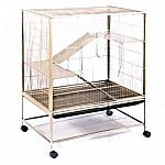 High-end Prevue Small Pet cage. Small wire spacing and solid metal ramps and platforms make this cage ideal for rats, chinchillas and baby ferrets. Large front door and smaller rooftop door allow for easy access to pets.