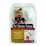 Single setting sprayer with on/off push button. Soft, luxurious water flow. Quick-connect detachable 8 foot hose. Being indoors allows you to use warm water for a more comfortable experience for your pet.