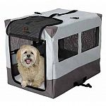 Constructed from woven water-resistant polyester with pvc backing and mesh window screens for ventilation and visibility. Sturdy, folding steel frame provides easy set-up and portability. Snap-lock straps secure folded crate. And comes complete with a car