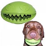 The Monster Mouth Treat Dispenser and Dog Toy combines two of your dog's favorite things in one fun toy, a treat dispenser and a fun, durable bouncing toy. This toy is designed to bounce unpredictably, making it hard and rewarding to catch.